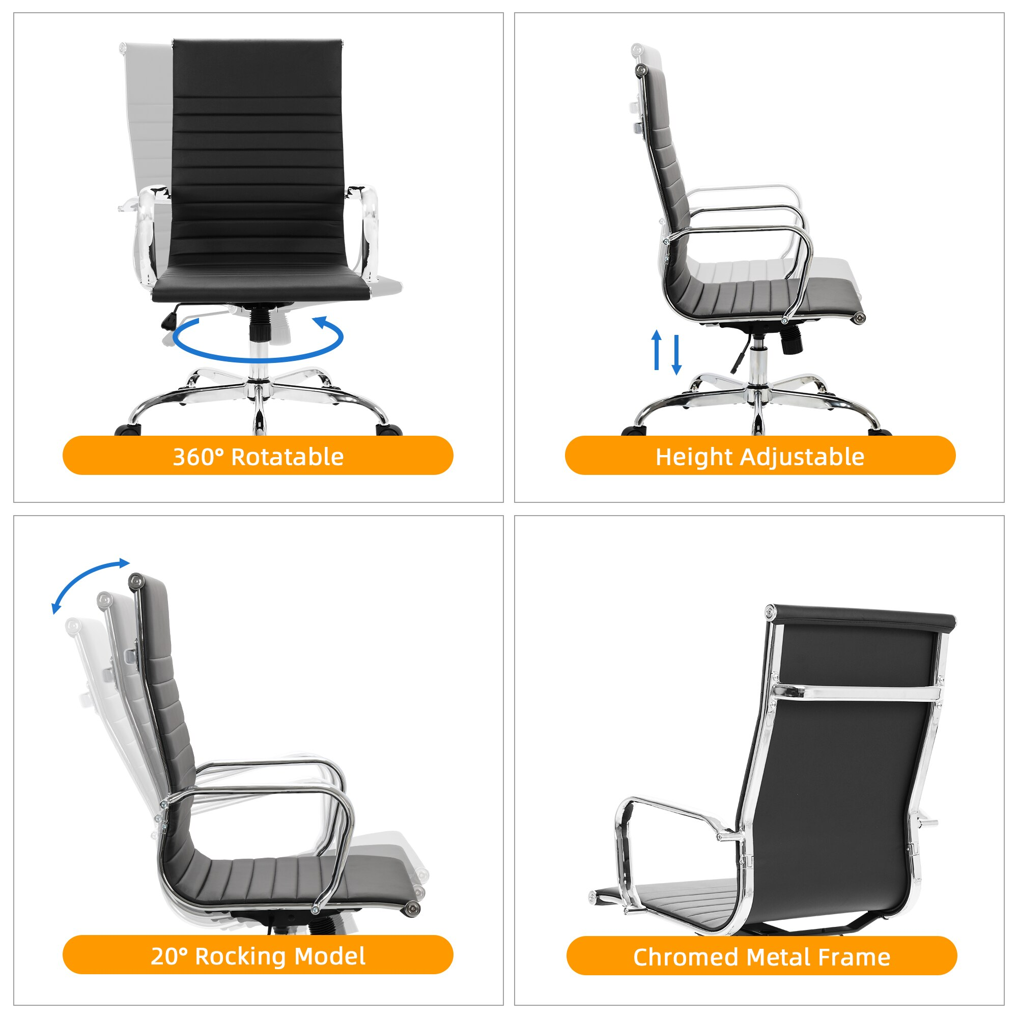 H0184f7dd275643258171ced00b339296d - GOSKEY High Back Office Chair PU Leather Ribbed Swivel Tilt Adjustable Home Desk Chair with Armrest Executive Conference Black