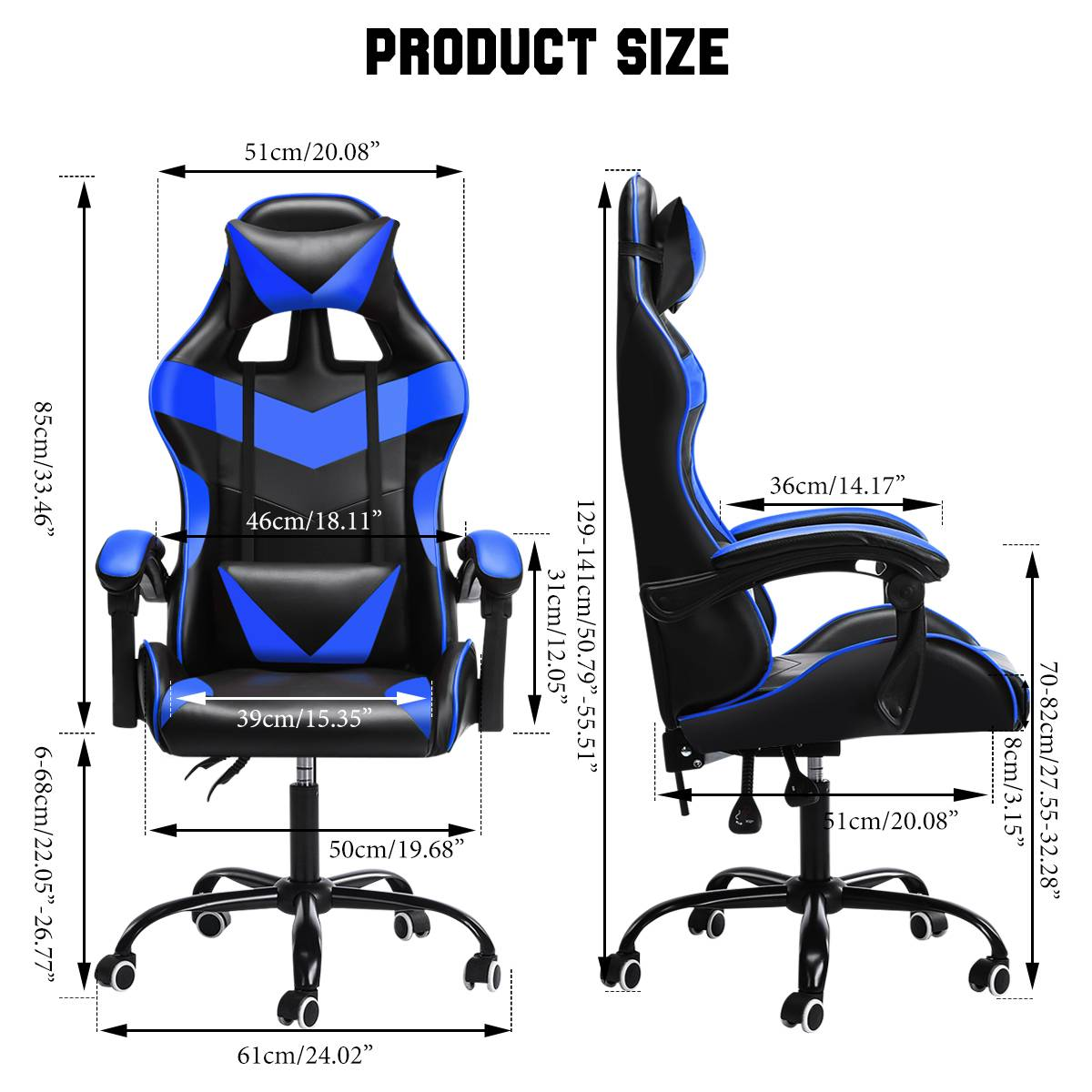H01e773f68ec842bcbf2f92919f2ffe4aT - Office Gaming Chair with Footrest Ergonomic Office Chairs Adjustable Swivel Leather High Back Computer Desk Chair with Headrest