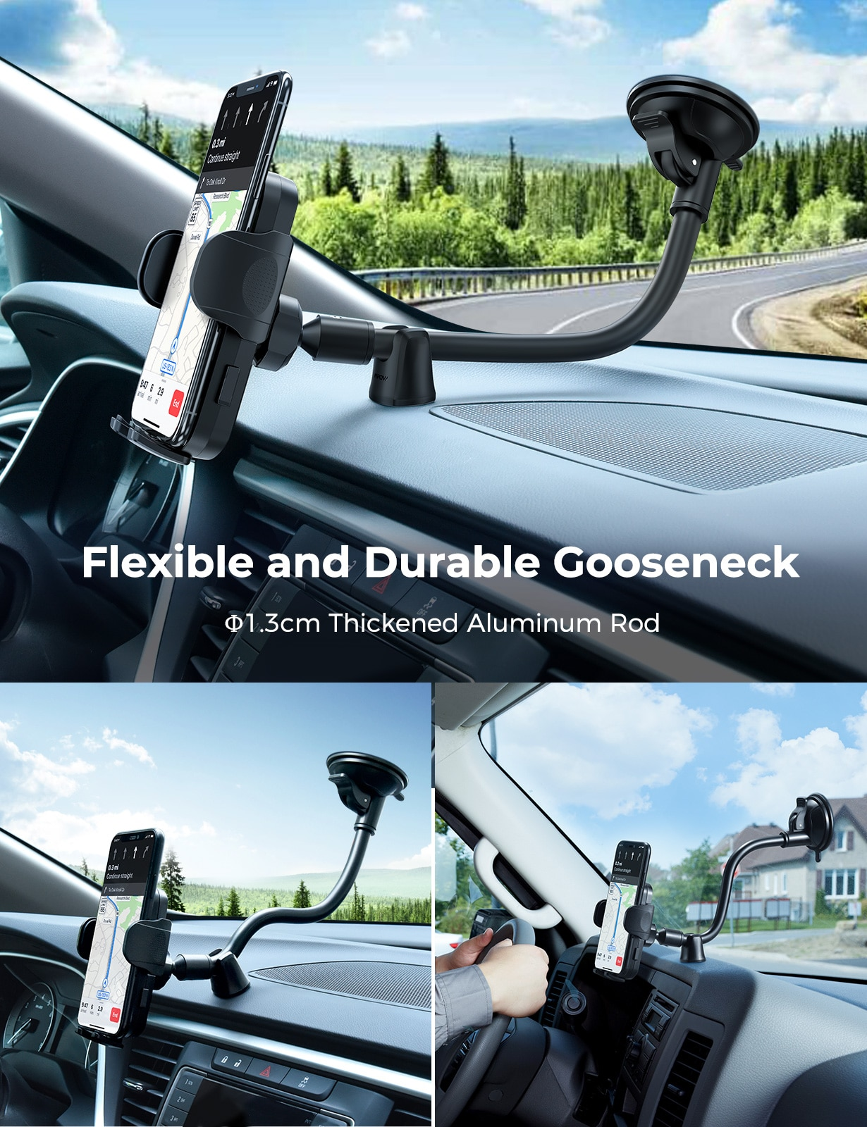 H03bc85b6dbaf4672bef59c339f59e3014 - MPOW CA159 Upgraded Long Gooseneck Phone Holder for Car Windshield Car Phone Mount for iPhone SE 11 Pro Galaxy Note and More