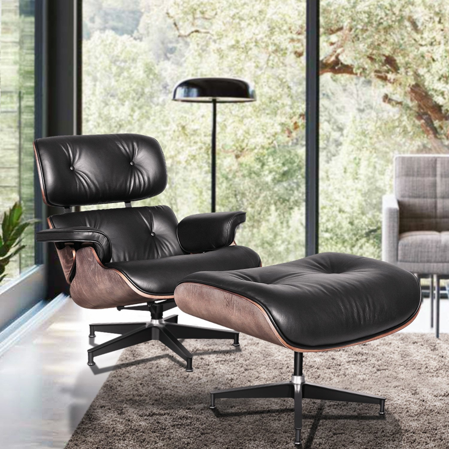 H04e3025f229f43c9aca3a10bf2698dc95 - Classic Lounge Chair with Ottoman Leisure Sofa 8 Color Genuine Leather Lounge Chair Alluminum Leg for Living/Bedding/Office Room