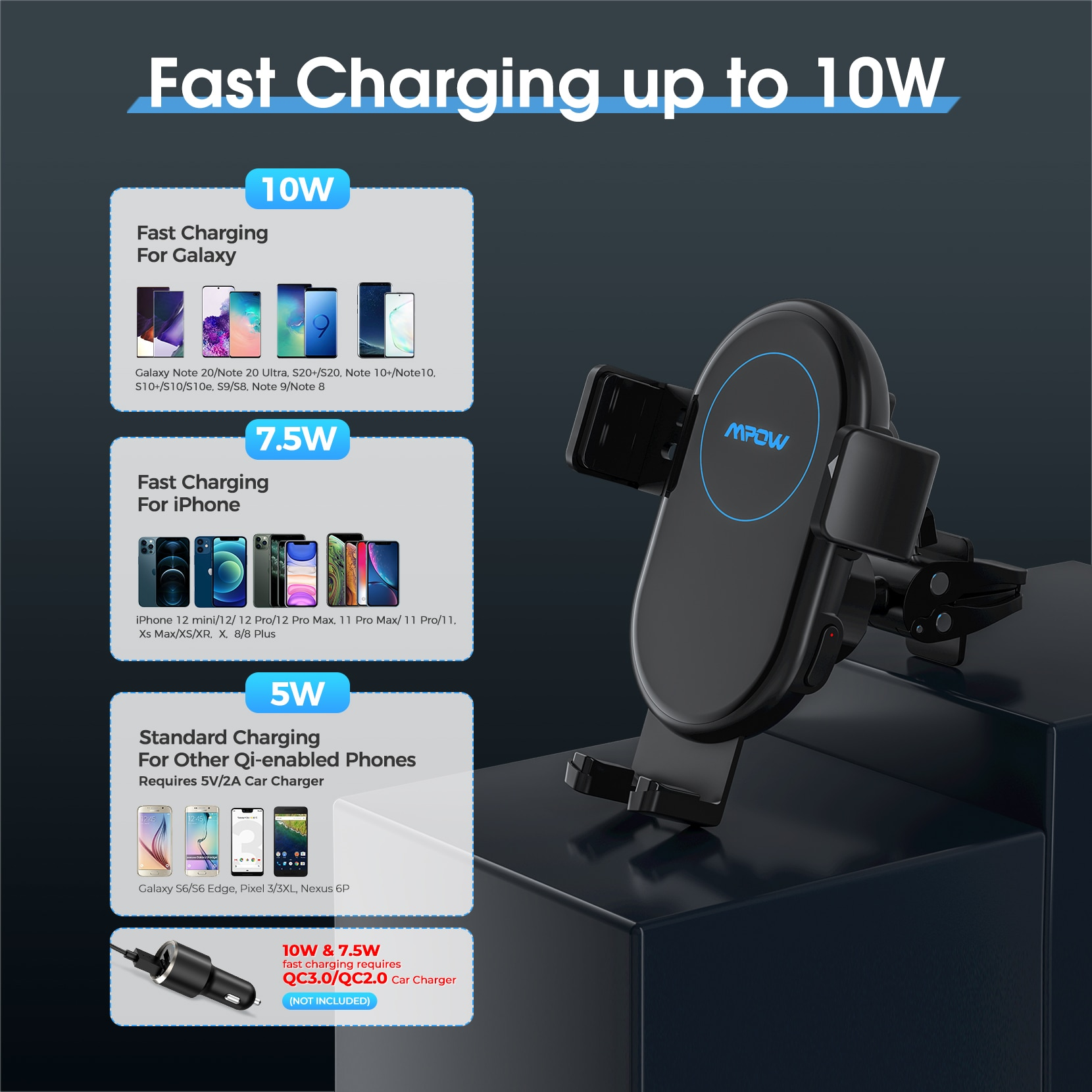 H053b9342ba9d4da8b0145ca6b51544db0 - MPOW CA164 Wireless Car Charger 10W Auto-clamping Qi Fast Charging Car Mount with Built-in Battery Cup Holder Vent Phone Holder