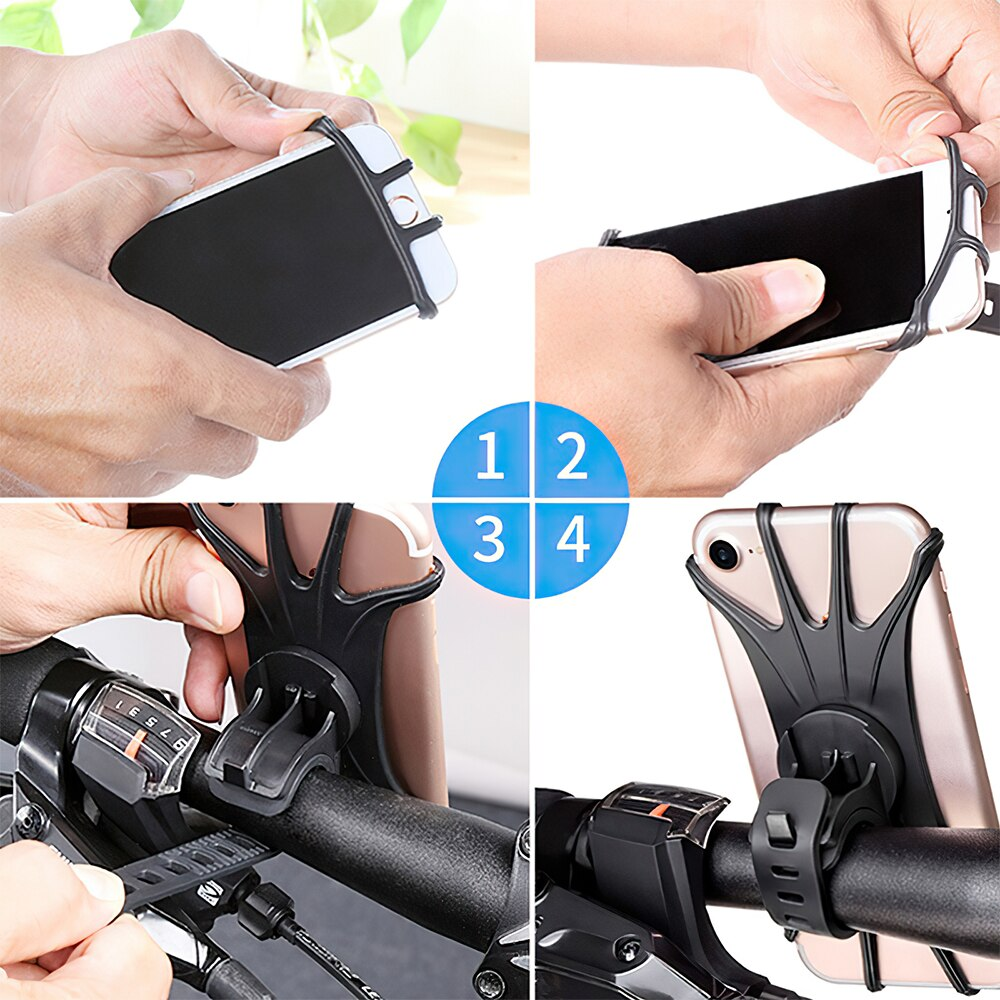 H0767118d69c74e5dac053030923feedfw - Bike Phone Holder Silicone Phone Mount Universal for Bicycle Motorcycle Handlebar Stretchy Phone Holster with 360 Rotation
