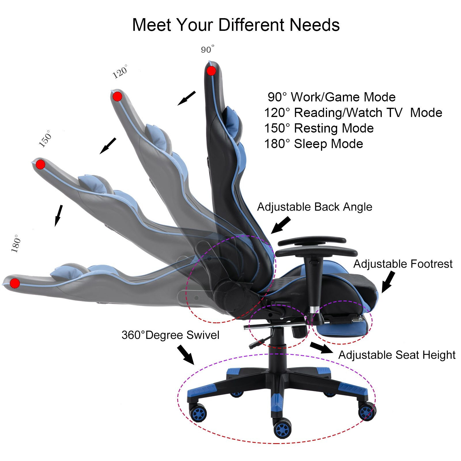 H09d2443a47e149f297ea0ceabd6a69c5T - Gaming Chair Computer Armchair Adjustable Armrest And Footrest PVC Household Office Chair Ergonomic Computer Gamer Chair