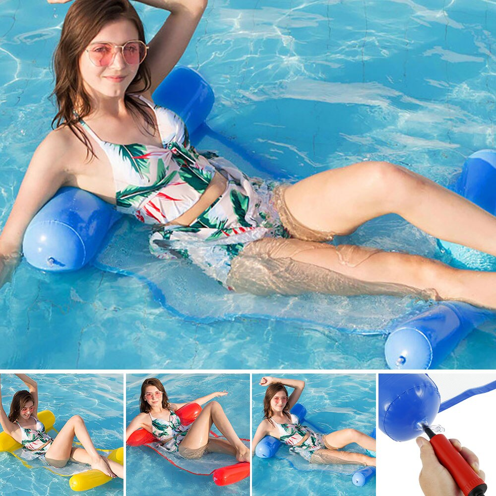 H09ea111bd0004427bdc2c8e4f80c3e61M - 2021 New Water Hammock Recliner Inflatable Floating Swimming Mattress Sea Swimming Ring Pool Party Toy Lounge Bed for Swimming