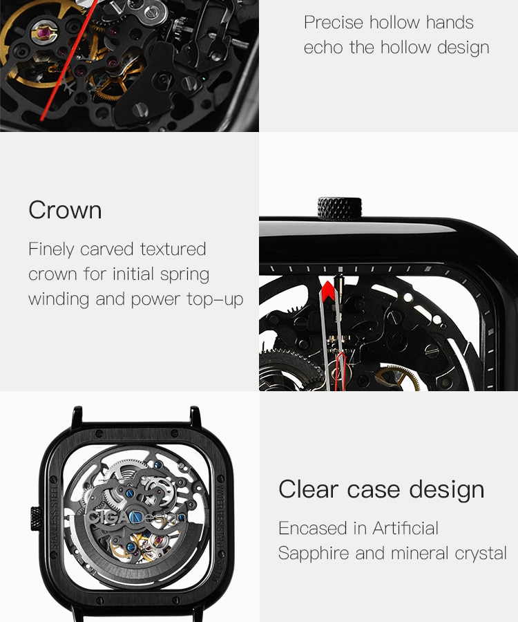 H0a3a5ab167584fafbee68ec2277cf67am - CIGA Men's Watch 1Pc Sliver Stainless Steel Mesh Mecanico Square Movement Simple Waterproof Black Male Watches Mens relogio