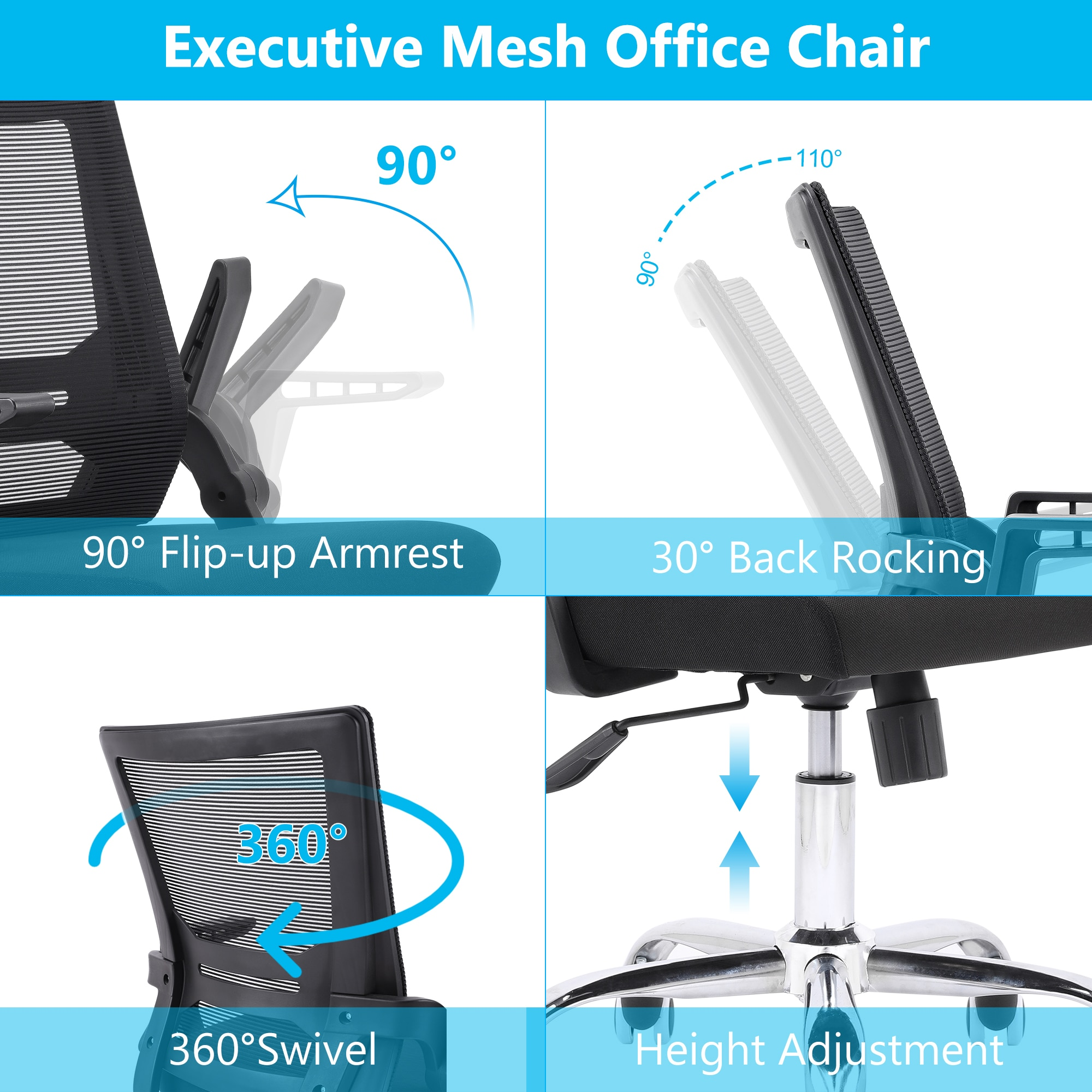 H0ba1534cd81e4af1ae1ddd4d6fa51f763 - Sigtua Swiveling Desk Chair Breathable Height-adjustable PC Chair Ergonomic Executive Black Computer Office Chair