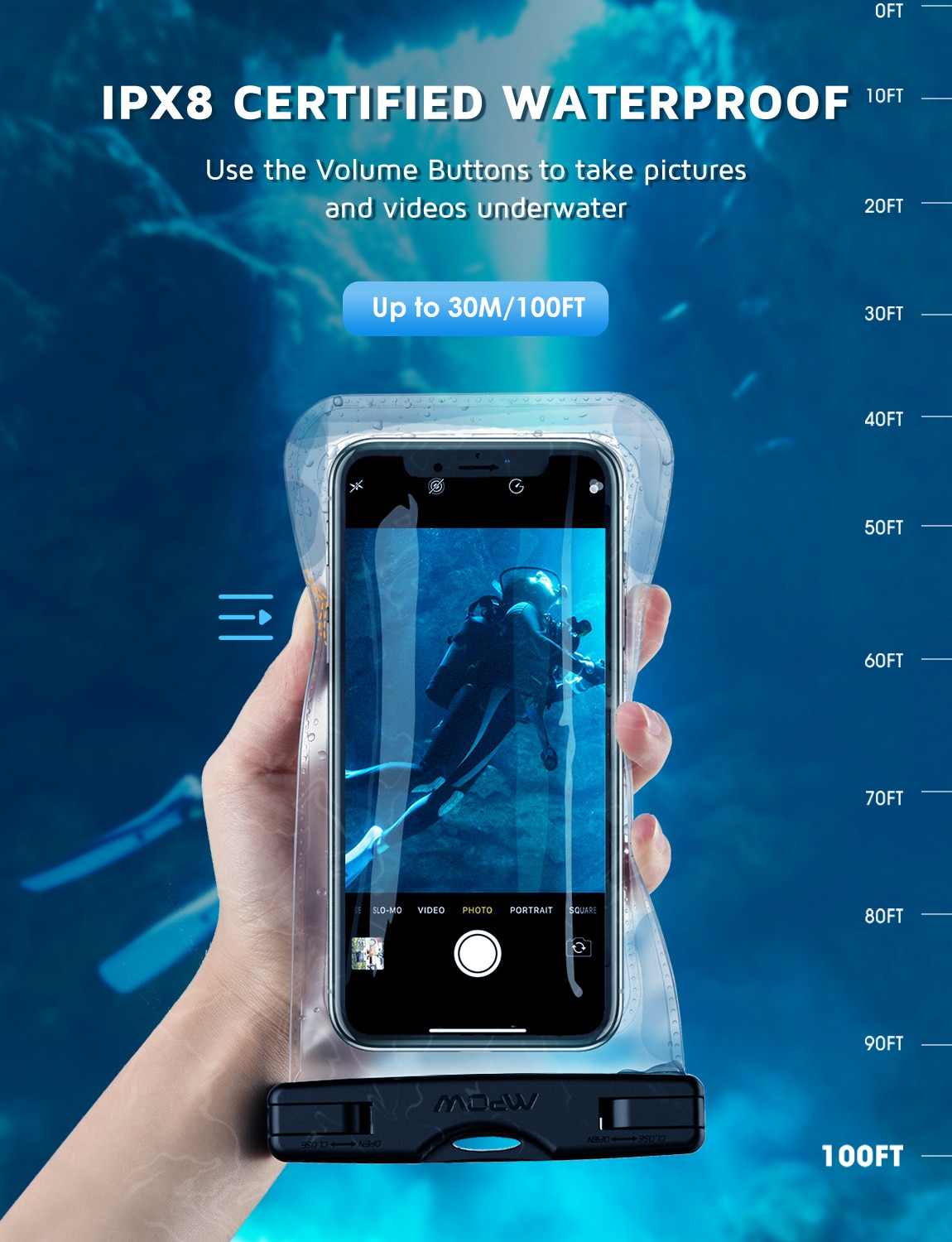 H0c6008882f8b46899a5a58ac06903833X - 2PCS Mpow 097 IPX8 Waterproof Phone Bag Pouch Case Universal for 7.0 inch Phones Home Button Cutout Take Photo Underwater IP68