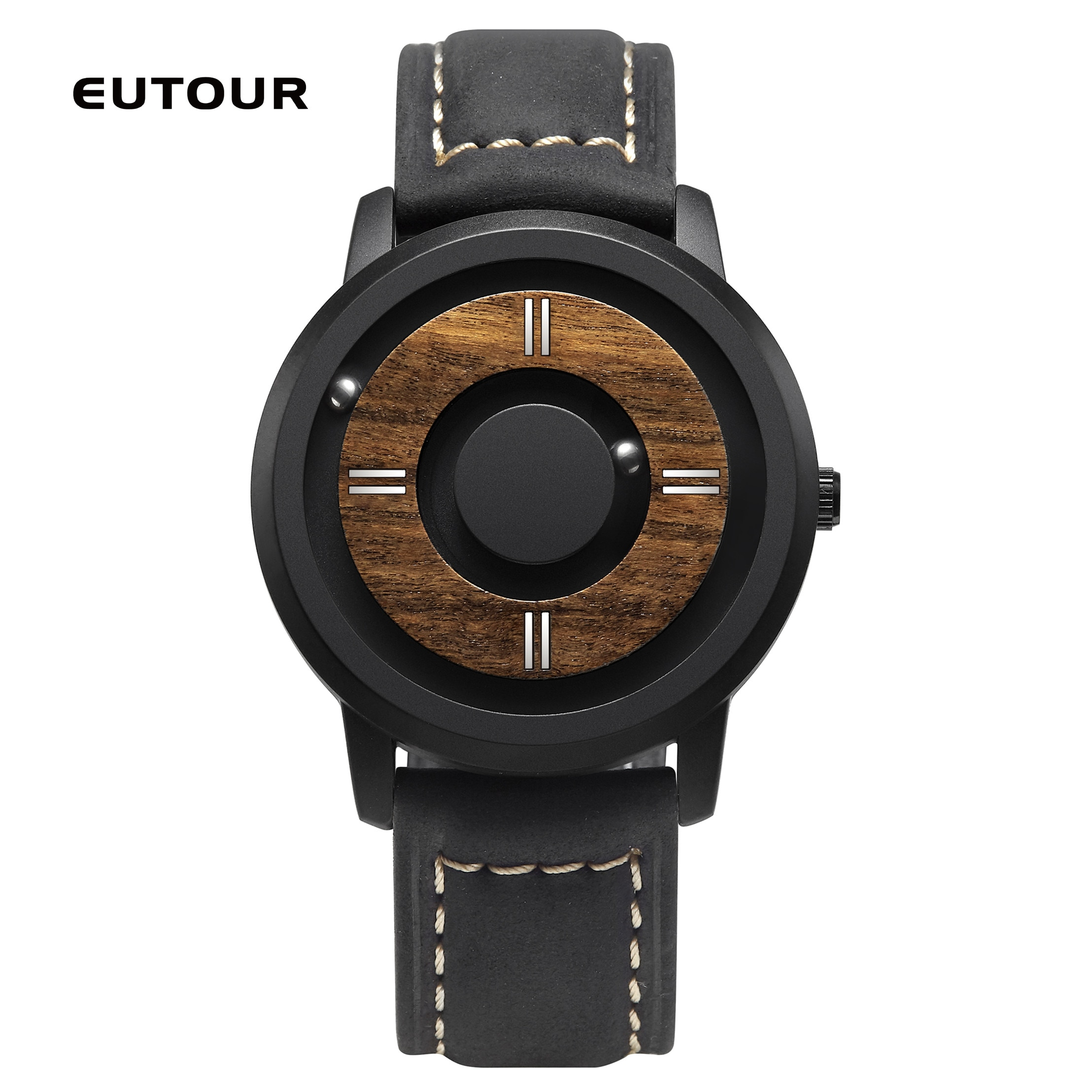 H0cac3b84b8a04c739635910087acabcaB - EUTOUR Magnetic ball Wooden dial watches Luxury Brand Mens fashion Casual Quartz Watch Simple Men Round leather strap Wristw