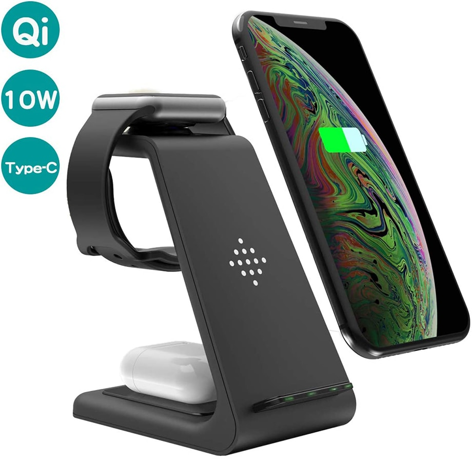 H0ed3d6d905a94b038c8d5b57e62a08a1F - Bonola Qi 3 in1 Wreless Chager Stand for iPhone11/XR/Xs/AirPods3/iWatch5 Fast Wireles Chargeing For SamsungS20/S10/Watch/Buds