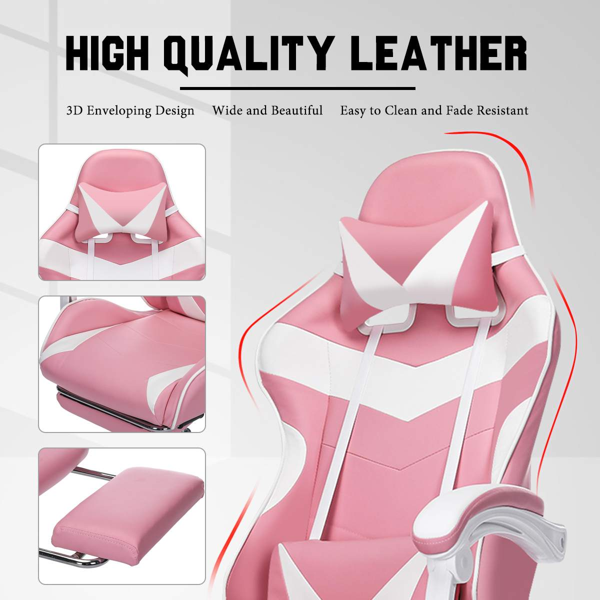 H0f45ed93f6cd4c8ebf388fba3df5ca37I - Office Computer Chair WCG Gaming Chair Pink Silla Leather Desk Chair Internet Cafe Gamer Chair Household Armchair Office Chair