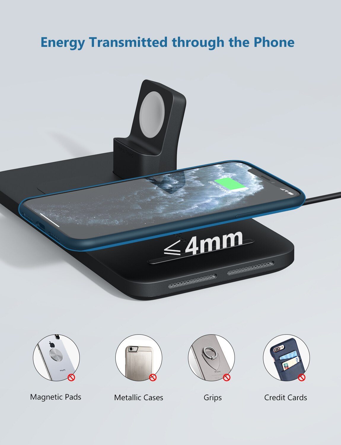 H0f842632906a400dad1ad99d3fb5e420g - Seneo PA202 Wireless Charger 3 in 1 for iPhone 12 11 Wireless Charging Pad for AirPods Pro 2 Charging Dock for iWatch 5 4 3 2