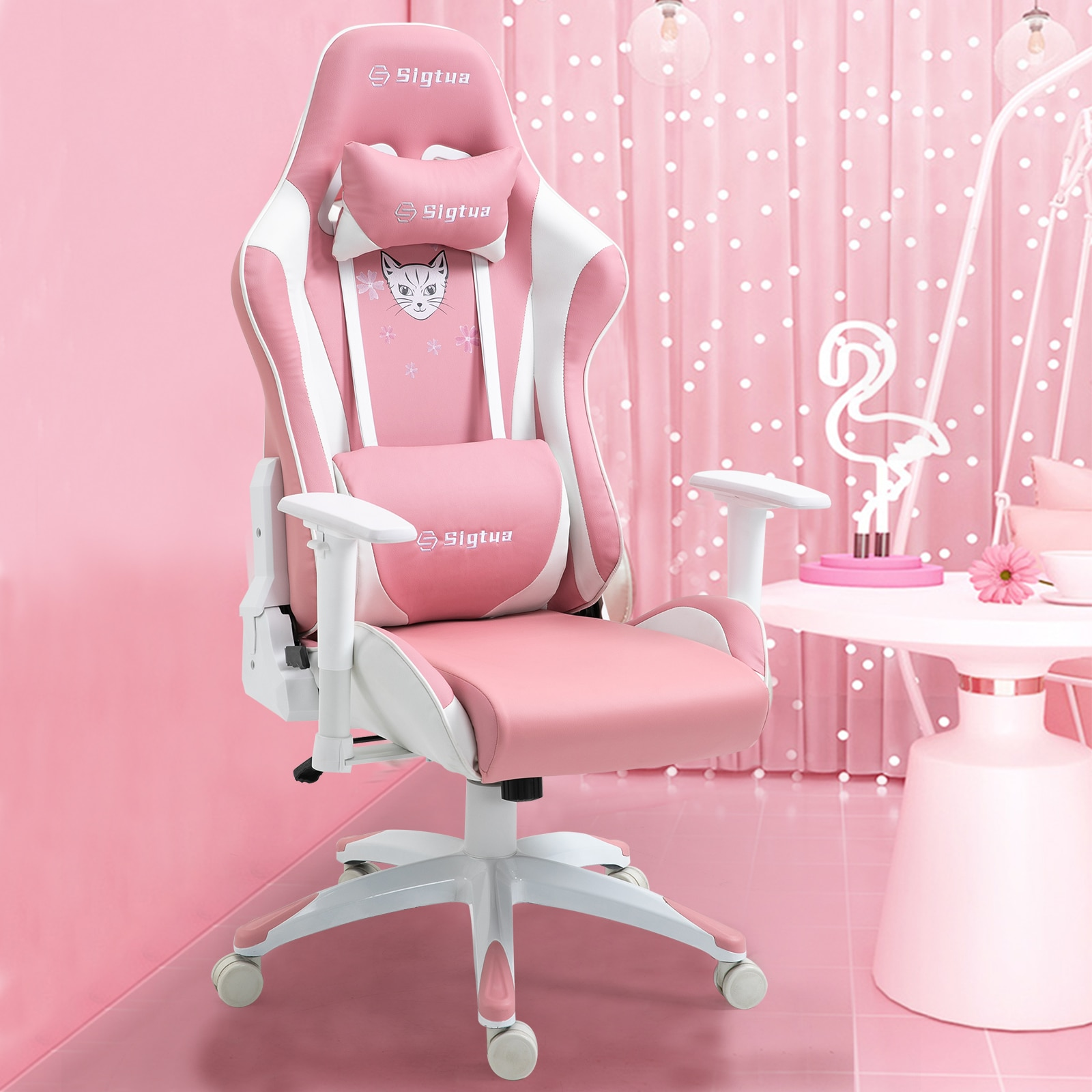 H0fe31a357d9048fe99316d58c5a70a6eo - Sigtua Pink Gaming Office Chair Height-adjustable Armrests Computer Chair Ergonomic Swivel Executive Chair with High Backrest