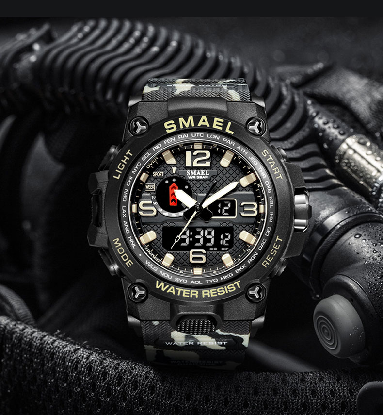 H10fd28425d764939985a01277ca40fab1 - SMAEL Brand Men Sports Watches Dual Display Analog Digital LED Electronic Quartz Wristwatches Waterproof Swimming Military Watch
