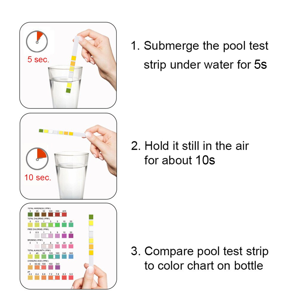 H10ff323a045a434cb8d109f1dfaa0cec3 - Professional Water Test Strips 7 in 1 Pool Test Paper Swimming Pool Hot Tub SPA Chlorine PH Tester Paper Water Test Kit