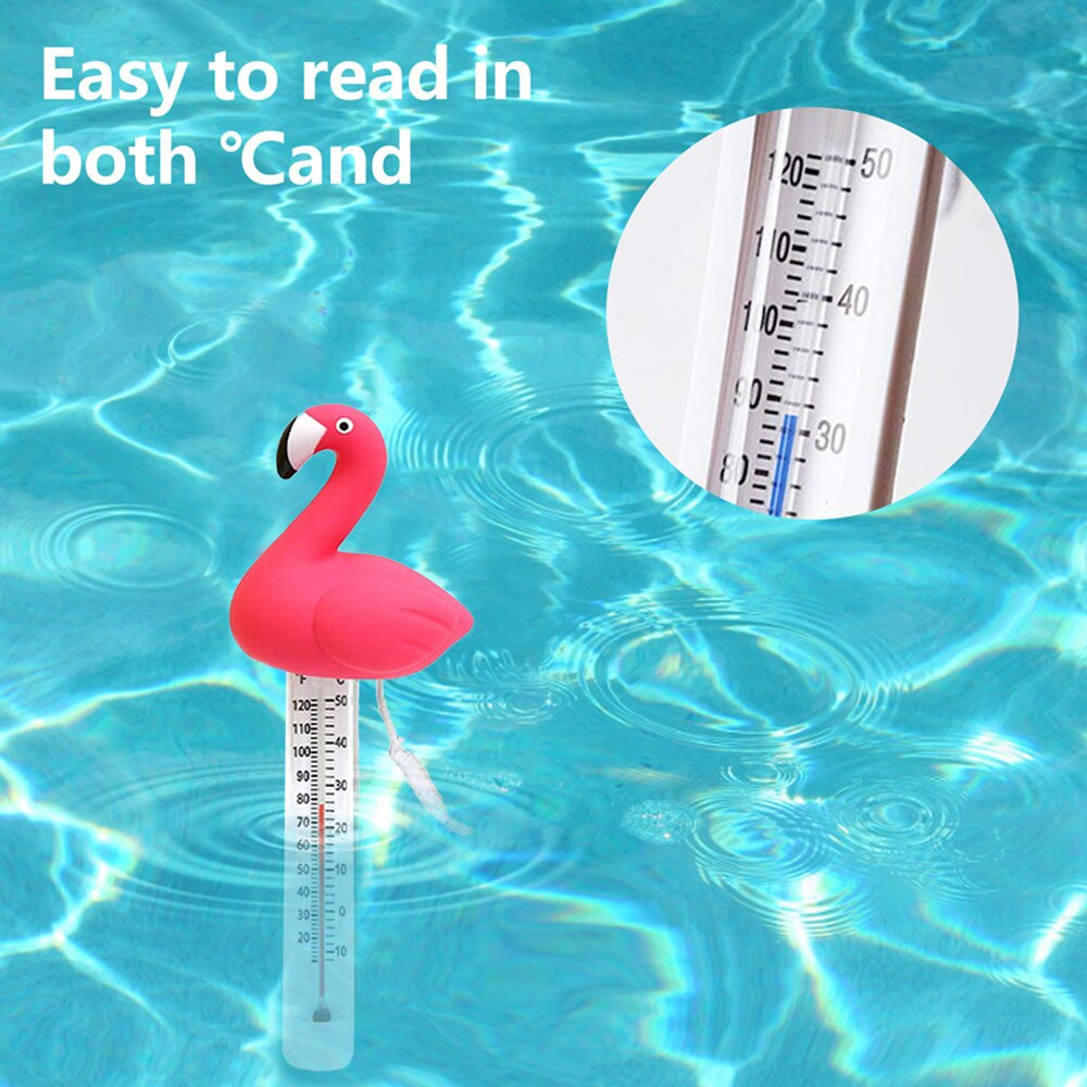 H1310cd217c8d480bbc6cd2e63d0ddcac0 - Swimming Pool Floating Water Thermometer Gauge Cartoon Flamingo Shape Thermometers With String For Swimming Pools Spas Hot Tubs