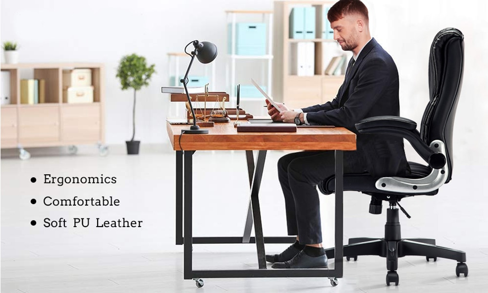 H14ab3974ffb94f23889f9a63fe0f8c1fl - YAMASORO Ergonomic Office Chair with Flip up Arms and Wheels Executive Office Desk Chairs Boss Leather Brown Computer Chairs
