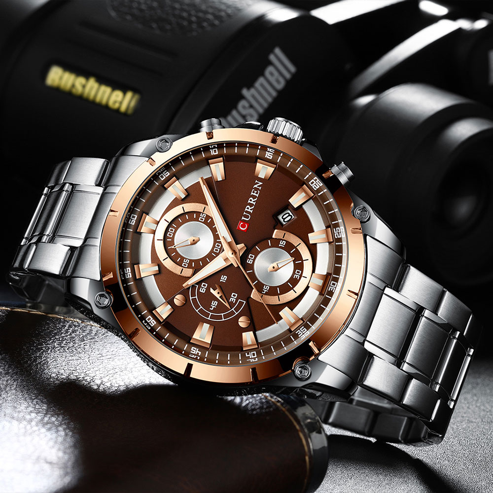 H1546cd7b66df4ae88f6f2a9ec30b3bc1m - CURREN Top Brand Luxury Men Watches Sporty Stainless Steel Band Chronograph Quartz Wristwatch with Auto Date Relogio Masculino