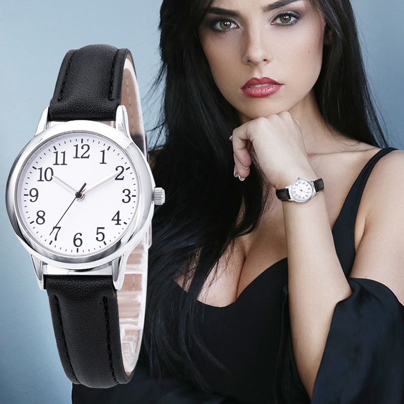 H159820e9a2e2485398e83c37bf810940n - Japanese Movement Women Quartz Watch Easy to Read Arabic Numerals Simple Dial PU Leather Strap Lady Candy Color
