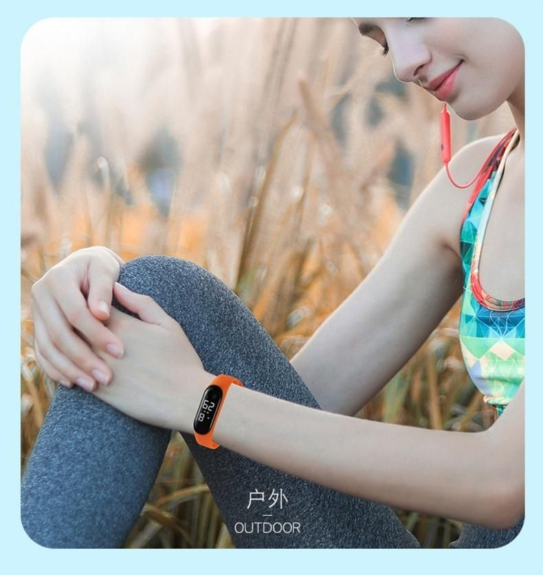 H16b1d16aeb294556a43f16f6c0b01c68h - M4 Men's Watch Women's Clock Heart Rate Blood Pressure Monitoring Tracker Fitness Wristband Bluetooth Connection Waterproof