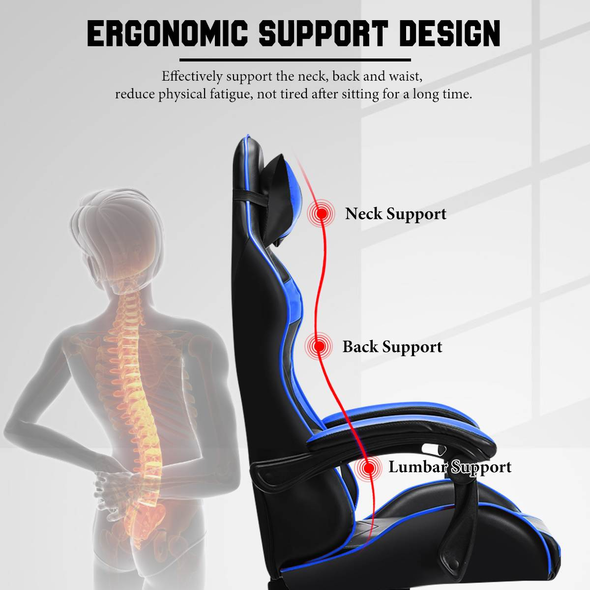 H178a7faa0c9545de95b1d9335bec319bU - Office Gaming Chair with Footrest Ergonomic Office Chairs Adjustable Swivel Leather High Back Computer Desk Chair with Headrest