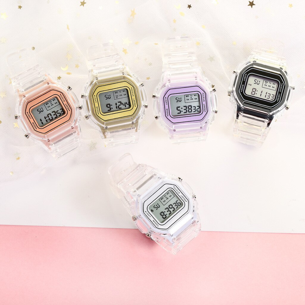 H182968c7efab431ebe153de4d37f14d75 - New Fashion Transparent Electronic Watch LED Ladies Watch Sports Waterproof Electronic Watch Candy Multicolor Student Gift