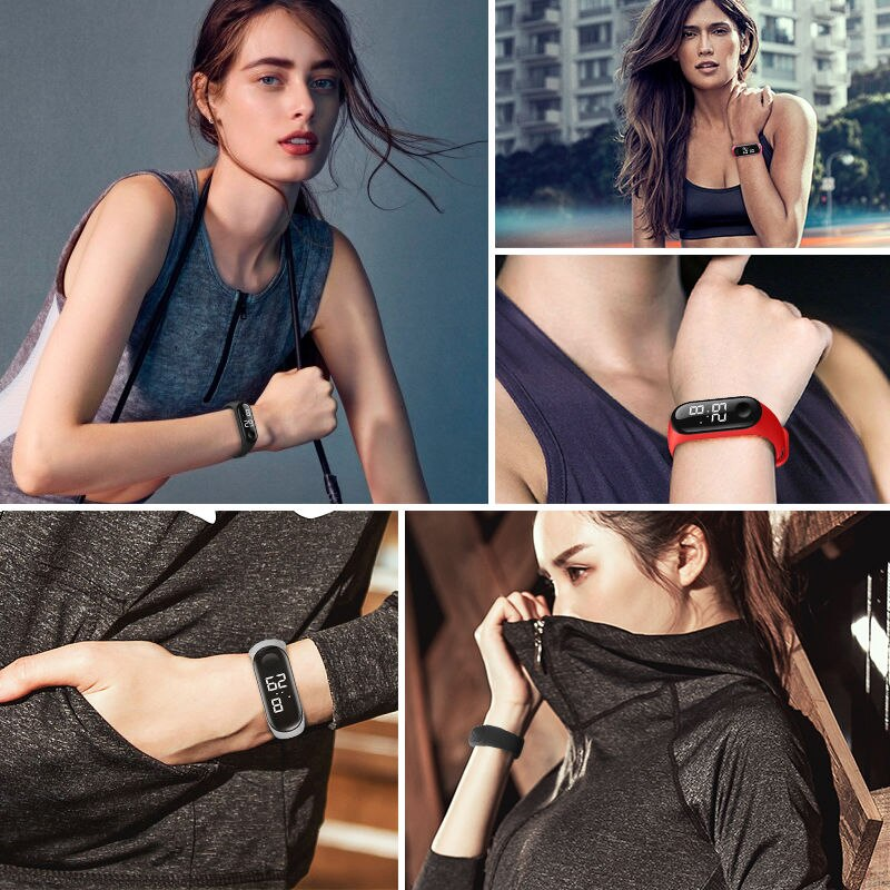 H18d51c42e68d4db7a77c9805e26c7b27q - M4 Men's Watch Women's Clock Heart Rate Blood Pressure Monitoring Tracker Fitness Wristband Bluetooth Connection Waterproof