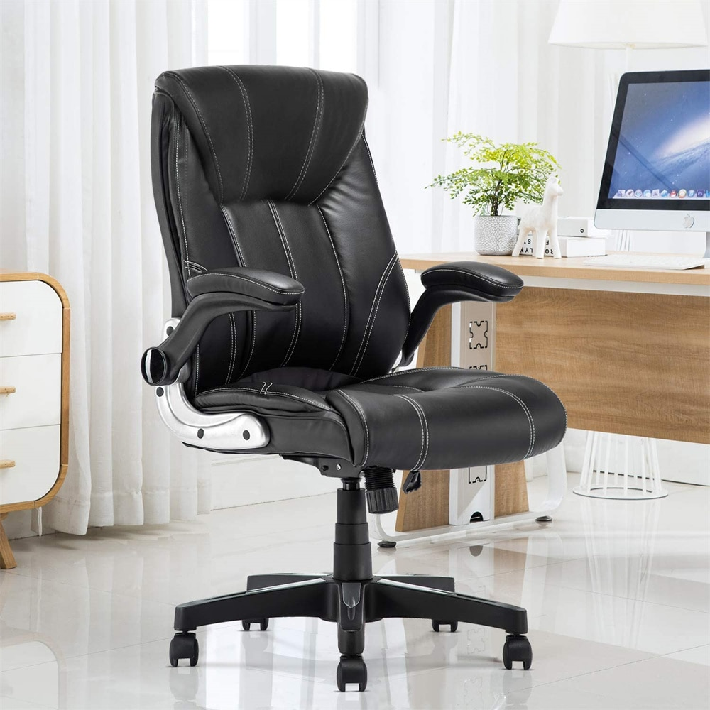H1a68747291cf4e219cd7d5595c5ae683Q - Office Chair Commercial Ergonomic High-Back Bonded Leather Executive Chair with Flip-Up Arms and Lumbar Support pc gaming chair