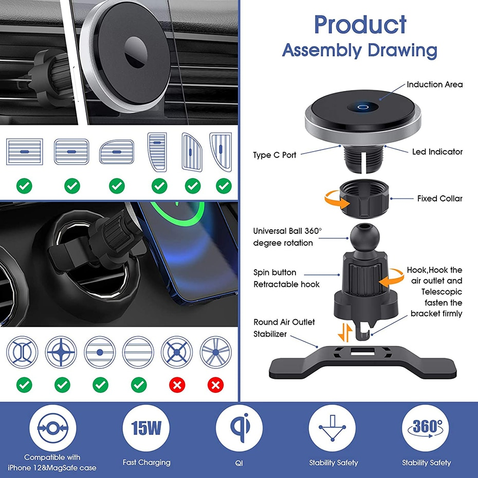 H1bd1af8fae5a45508463a8fe992fd902D - Bonola Qi 15W Wireless Car Charger For iPhone 12/11/8 Plus/Samsung/Xiaomi Car Smart Phone Charging Holder 15W Charger on Car