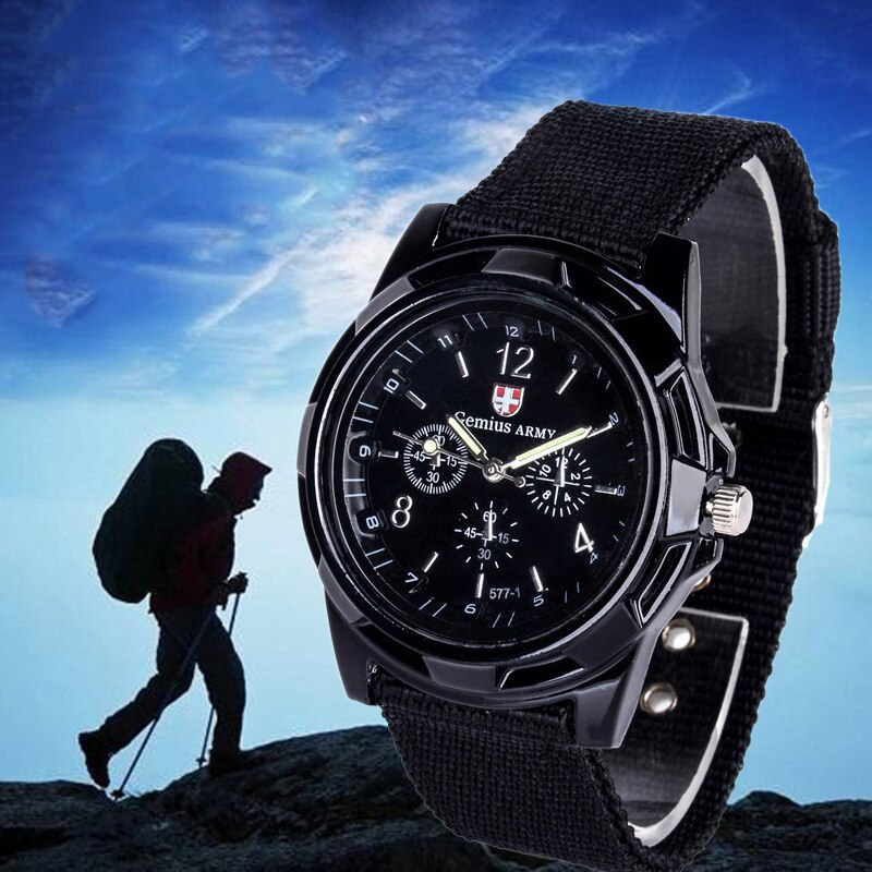 H1c698cf9c3574433977585bf5c1ccc474 - Men Army Watch Nylon Military Male Quartz Watches Fabric Canvas Strap Casual Cool Men's Sport Round Dial Relogios Wristwatch