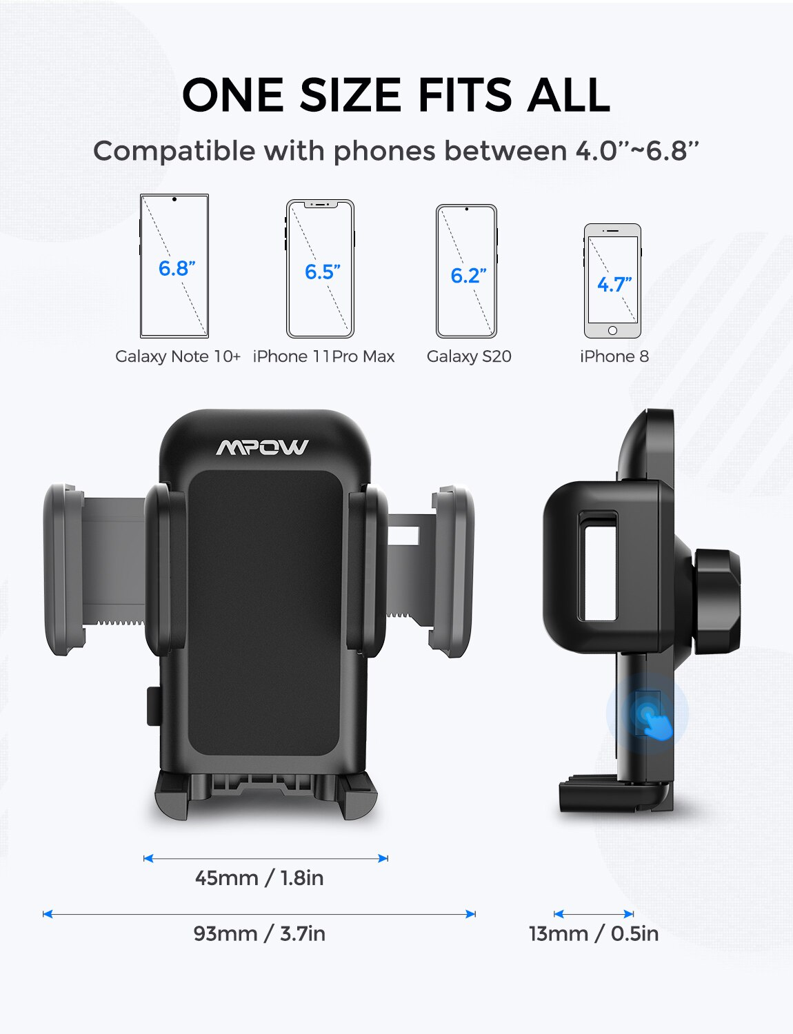 H1ff4273f2a6446beaabf6e69eaa00a5fG - Mpow 051 Car Phone Holder CD Slot Car Phone Mount with Three-Side Grip and One-Touch Design for iPhone 12/12Mini/12Pro/12Pro Max