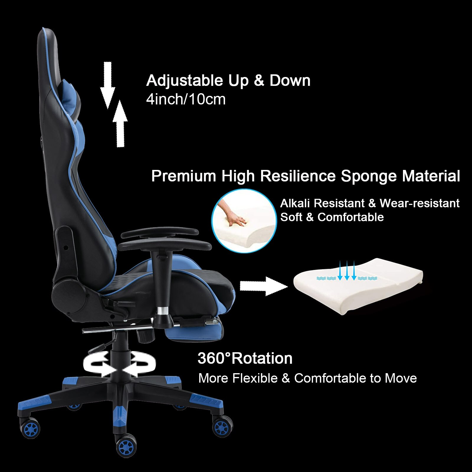H21c0549659ac4c508aace2d30c55a52fP - Gaming Chair Computer Armchair Adjustable Armrest And Footrest PVC Household Office Chair Ergonomic Computer Gamer Chair