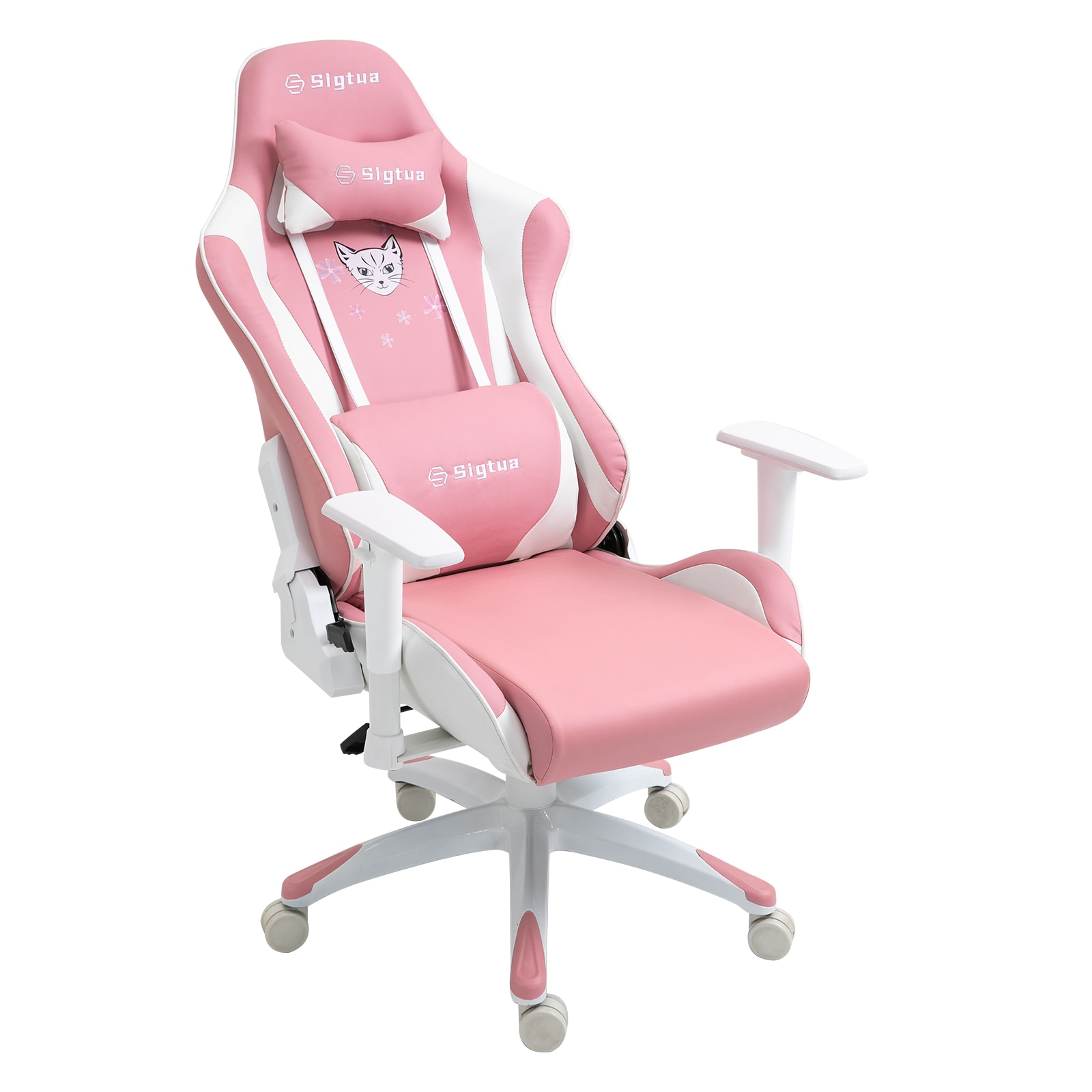H224fb08b8fa844ecb81fd864e8915de7H - Sigtua Pink Gaming Office Chair Height-adjustable Armrests Computer Chair Ergonomic Swivel Executive Chair with High Backrest
