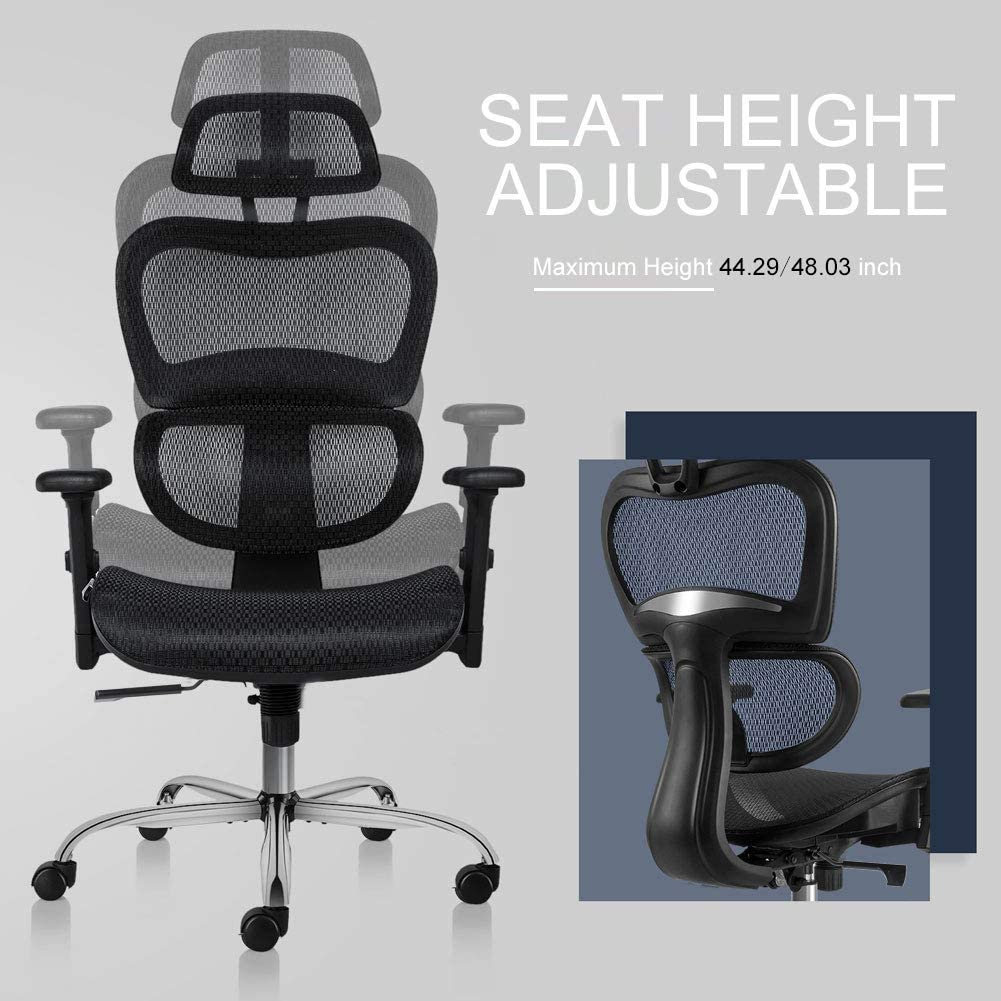 H23729b8228ad4c6d8b8a764e4c560669e - Office Chair Ergonomics Mesh Chair Computer Chair Desk Chair High Back Chair gaming chair With Adjustable Headrest and Armrests
