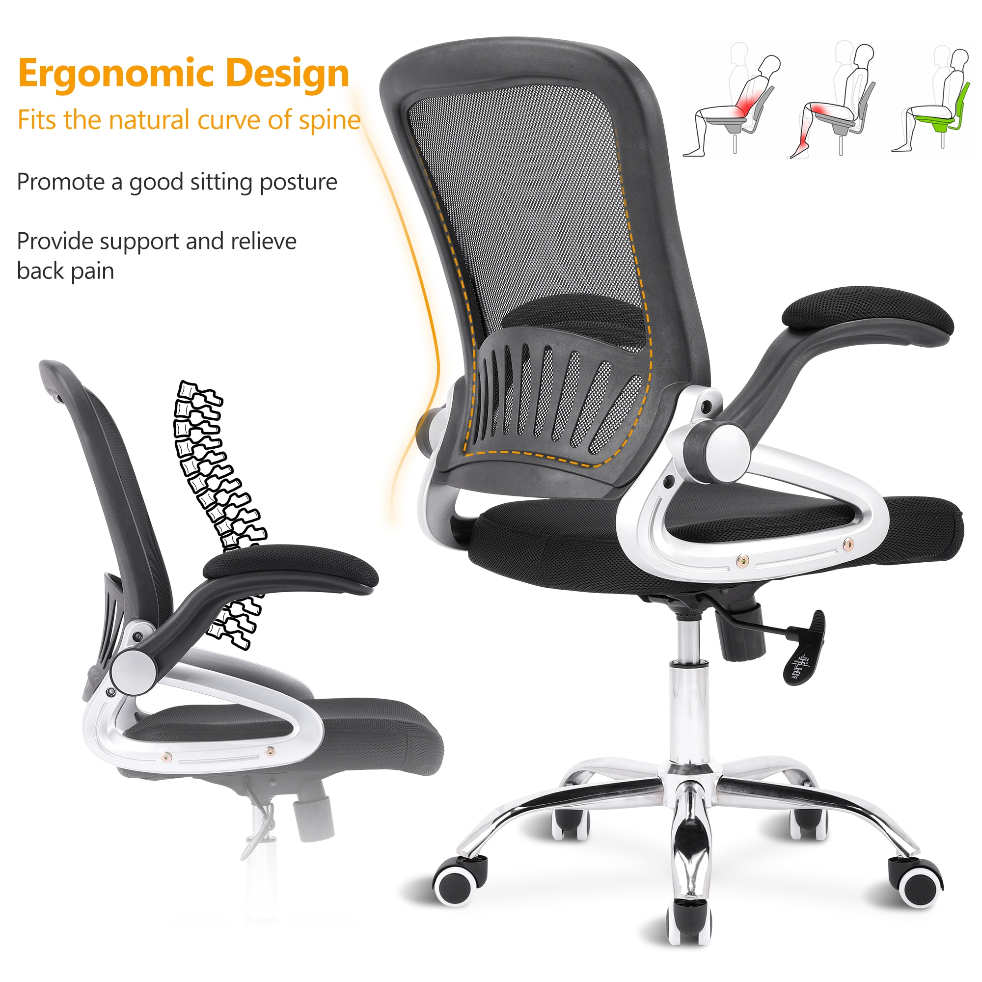 H24e3191bde0d45f783d12b41b3b3033c3 - Sigtua Swivel Office Chair Height-adjustable Desk Chair Breathable PC Chair Comfortable Ergonomic Executive Computer Chair Black