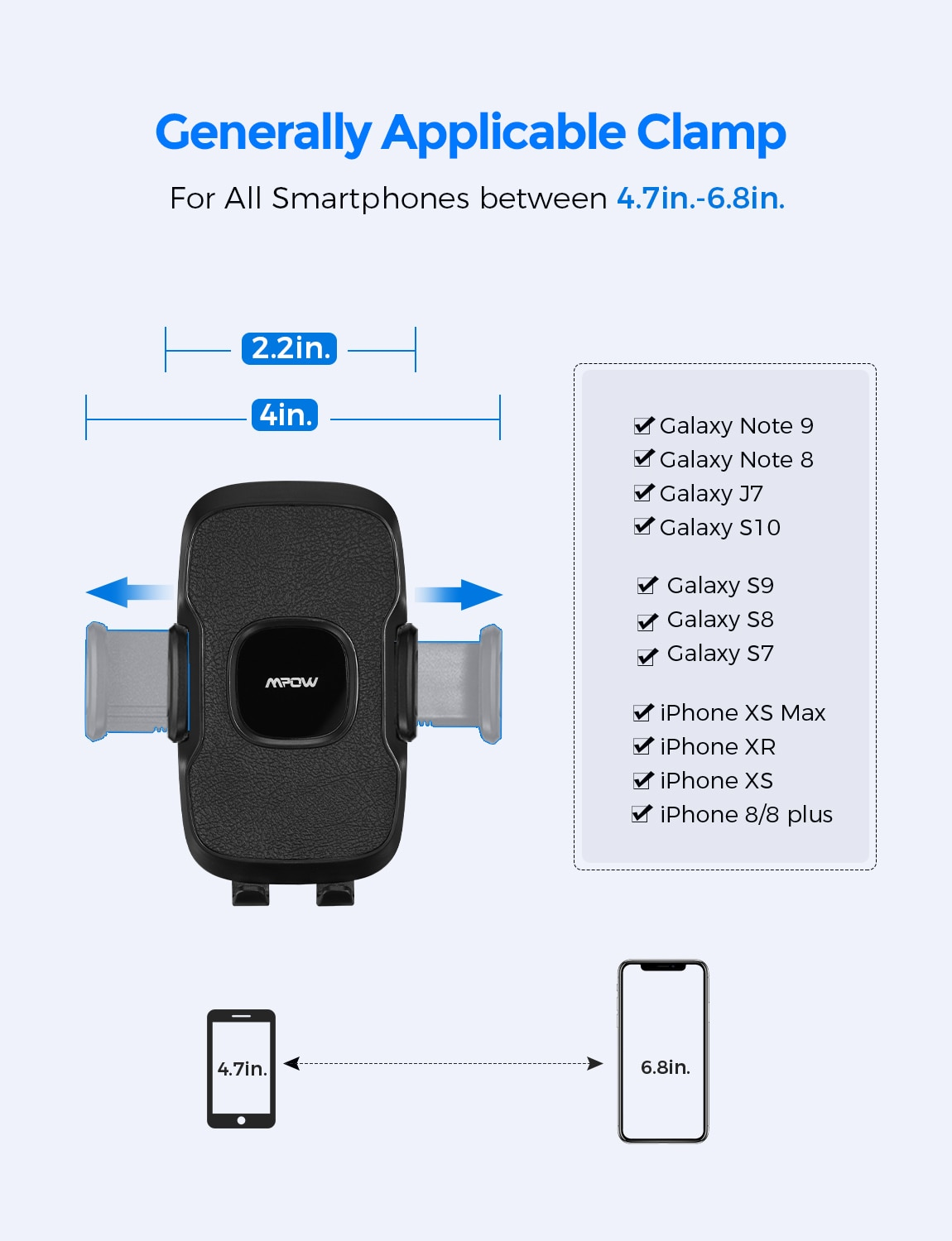 H2564fb1007914d3594ed23cad742c09fn - Mpow CA136 Car Phone Holder 360 Degree Flexible Long Arm and Adjustable Clamp Universal Phone Cradle Mount for For iPhone 12 XS