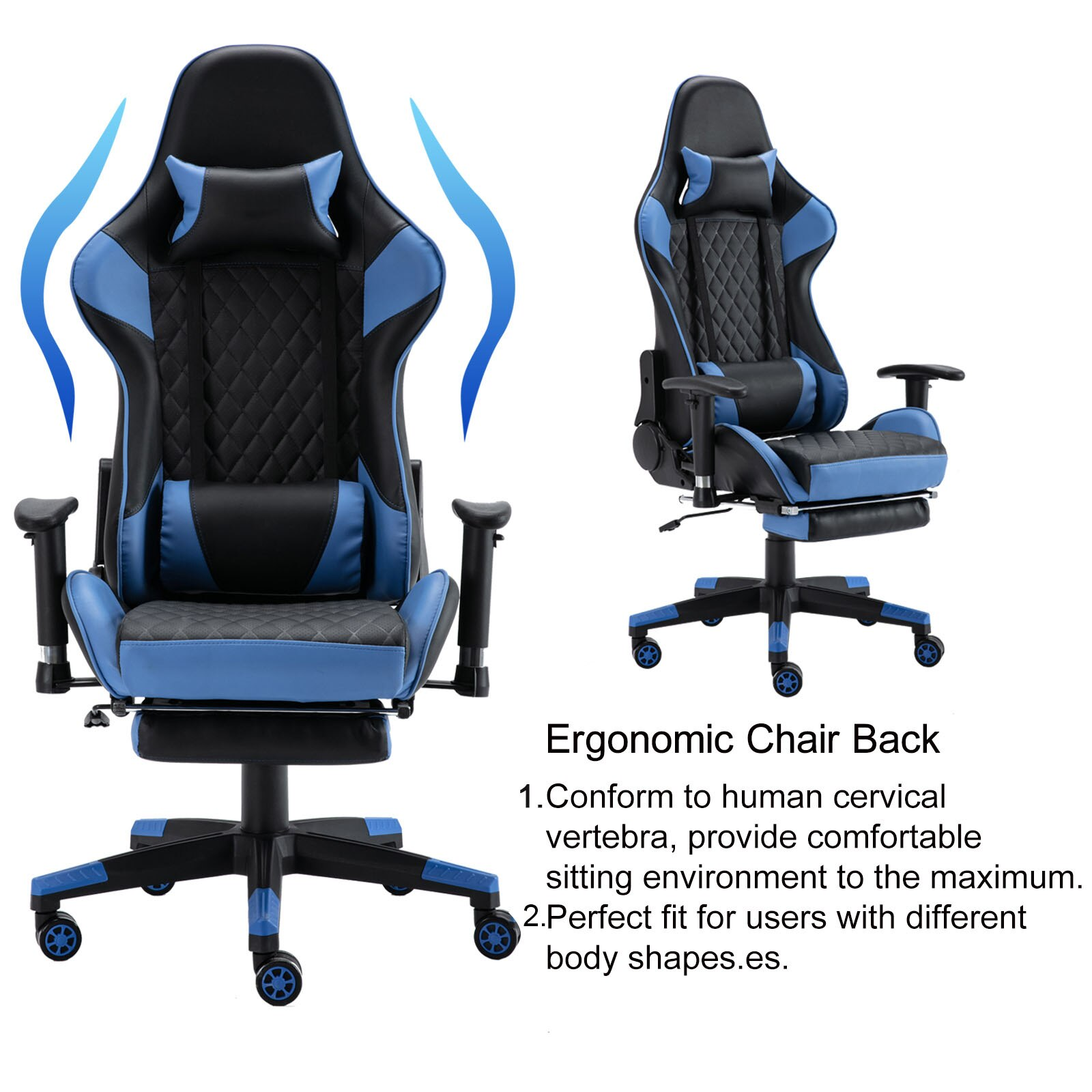 H26b011d24b944634b8066519d25fcc573 - Gaming Chair Computer Armchair Adjustable Armrest And Footrest PVC Household Office Chair Ergonomic Computer Gamer Chair