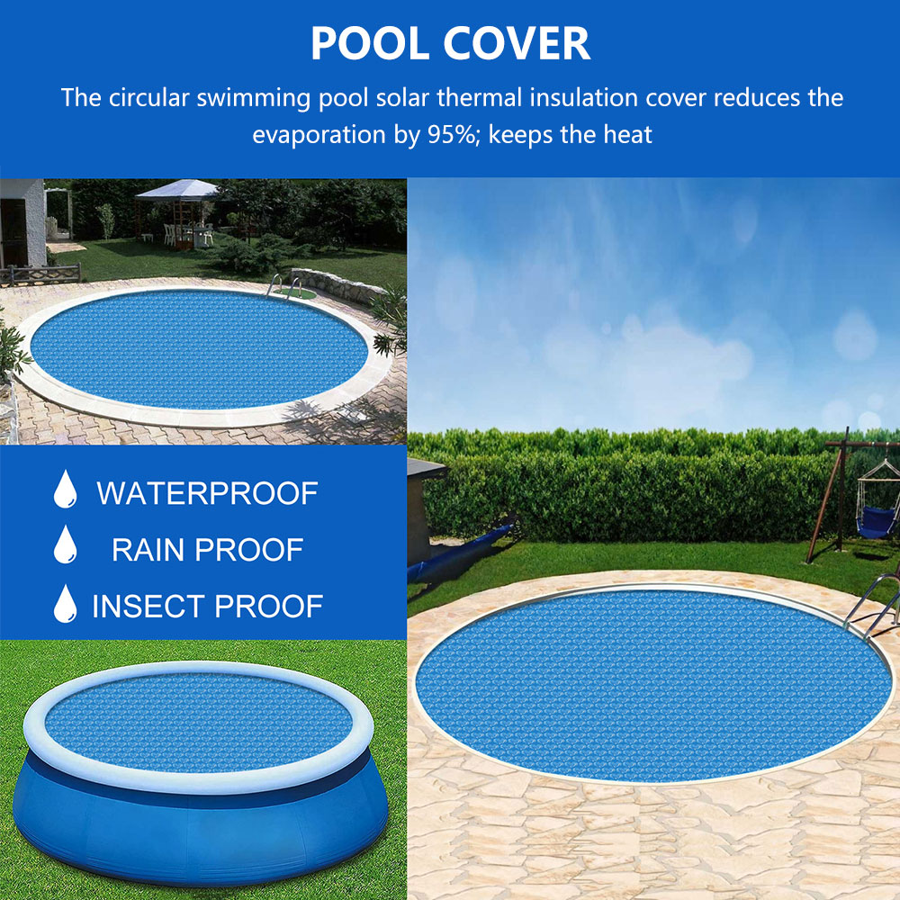 H26d3742d29a94c17a856f2f899f002df2 - Swimming Pool Solar Heat Shield Dustproof Cover Round Pool Protector Cover Frame Pool Mat Cover Pool Film Accessories