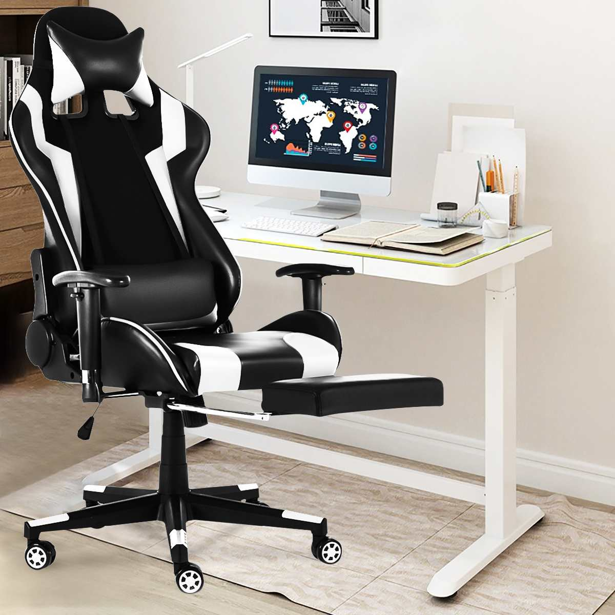 H2730e722ad7442f084d344656f778baeR - WCG Gaming Chair Computer Armchair Office Chairs Home Swivel Massage Chair Lifting Adjustable Desk Chair Lying Recliner Chair
