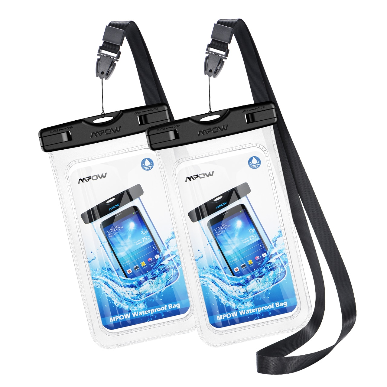H273fcf8180904bdf851192d536cb29fbX - 2PCS Mpow 097 IPX8 Waterproof Phone Bag Pouch Case Universal for 7.0 inch Phones Home Button Cutout Take Photo Underwater IP68