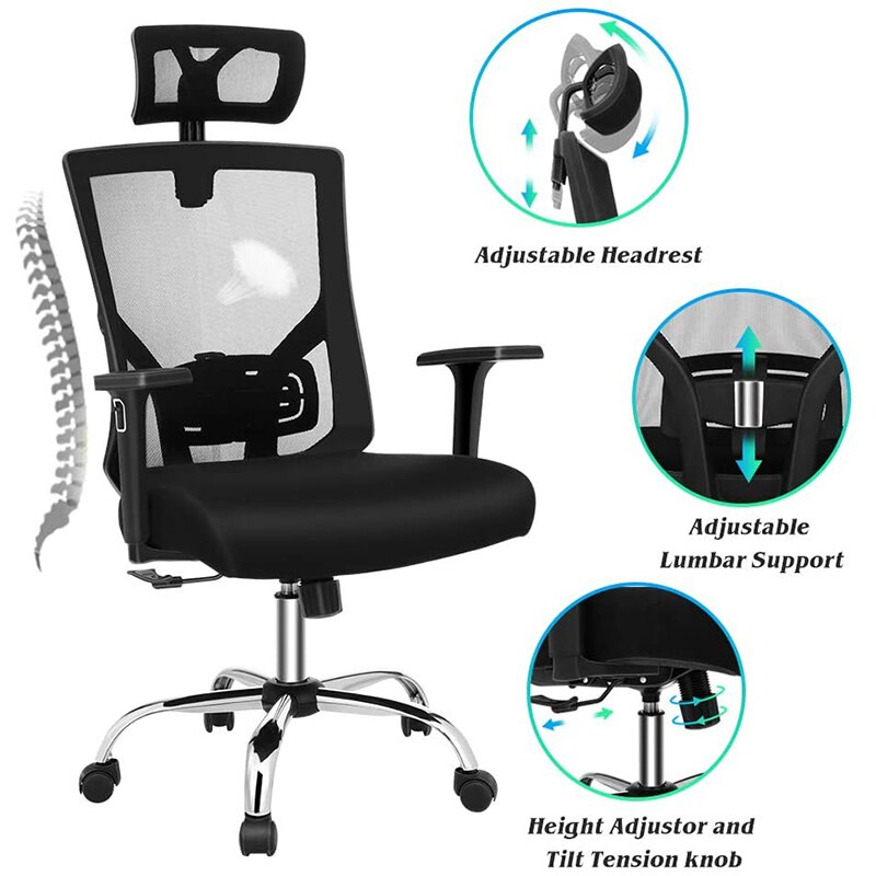 H27c765e68f4b44ab8f9ca4e651f486b1x - Quality Office Chair Black Swivel Mesh Computer Ergonomic Chair High Back With Adjustable Armrest Head Support Height Adjustable