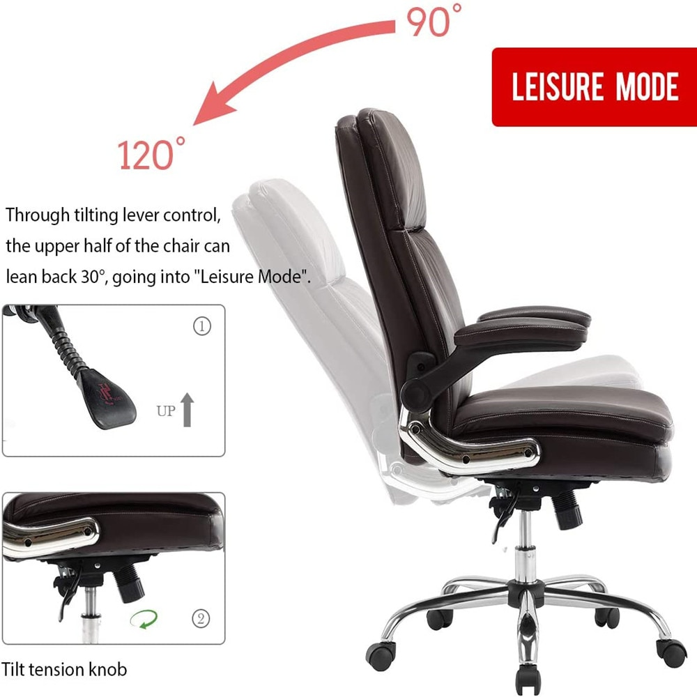 H282c3e82bbae4c96bb180f41e8cdd79dn - Yamasoro Leather Executive Office Chair, Adjustable Recline Locking Computer Desk Chair, Ergonomic Design for Lumbar Support