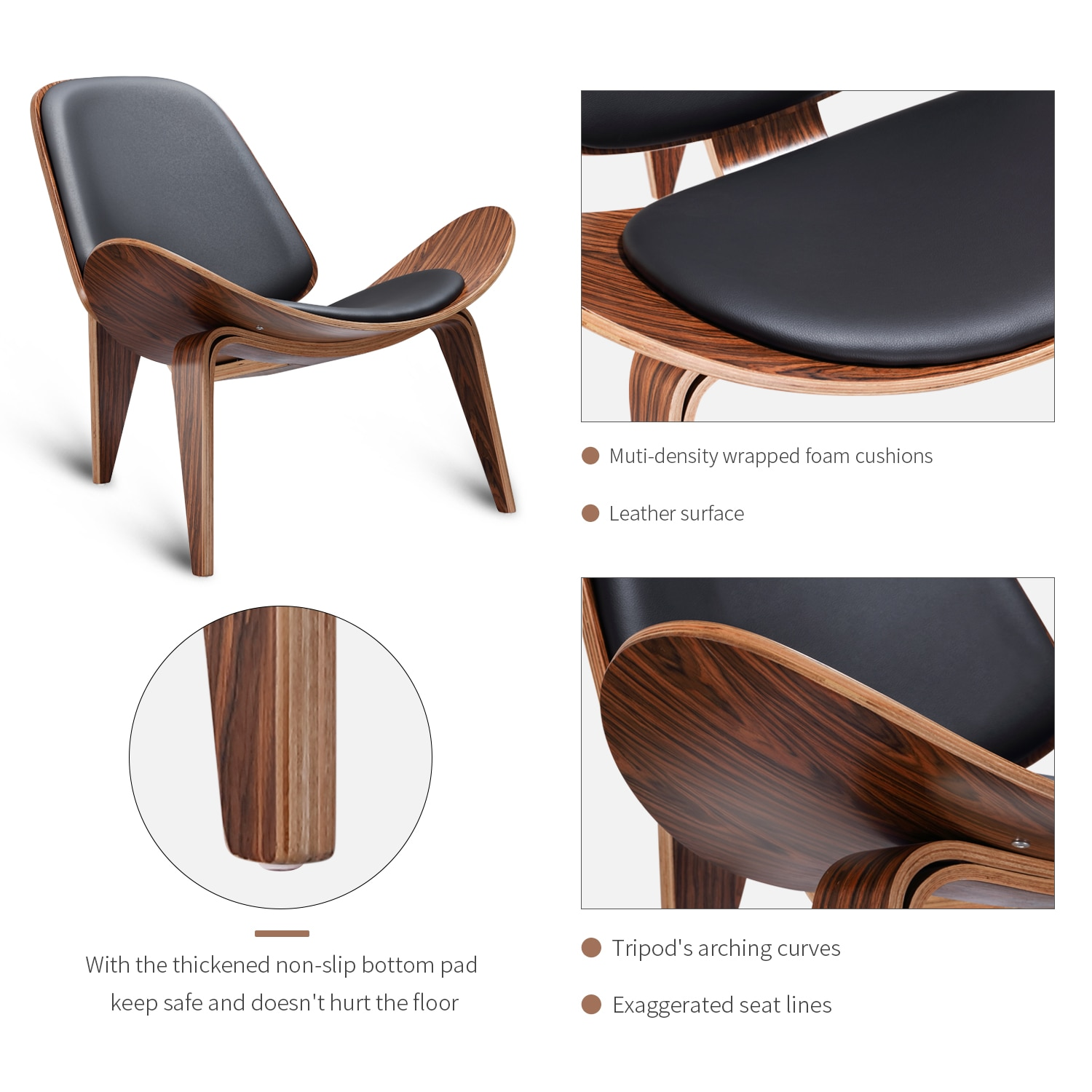 H29c7516745814d6695fe7ecfb914290eJ - Design Furniture Bentwood Chair Hands Wegner Replica Lounge Chair with PU Leather Seat Comfort Cushion Coffee Chair Office Chair