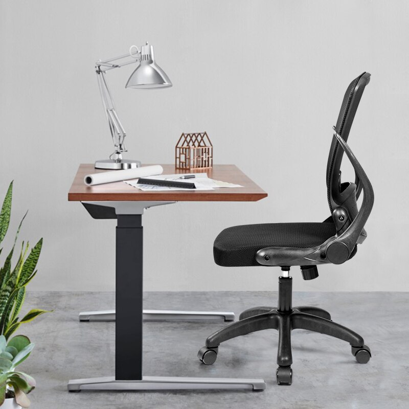 H29f22df9df564c71b210d19256558253h - Rotating Mesh Chair Breathable Adjustable Height Foldable Computer Chair Ergonomic Executive Black Office Chair Furniture