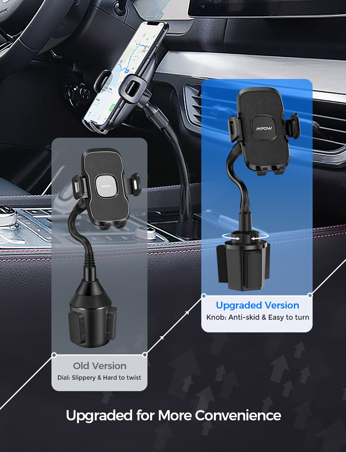 H2a06567767dc44598b82ec1f7ee6c09fM - Mpow CA136 Car Phone Holder 360 Degree Flexible Long Arm and Adjustable Clamp Universal Phone Cradle Mount for For iPhone 12 XS