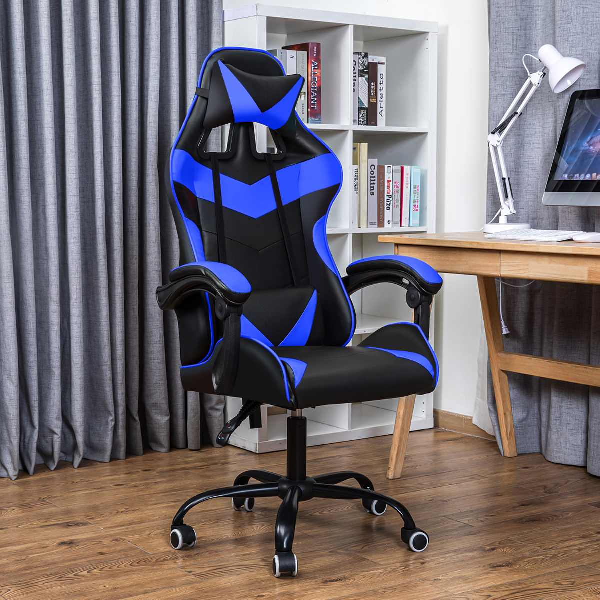 H2a4192b3c1f44b19b2d1729fb32e0d76h - Office Gaming Chair with Footrest Ergonomic Office Chairs Adjustable Swivel Leather High Back Computer Desk Chair with Headrest