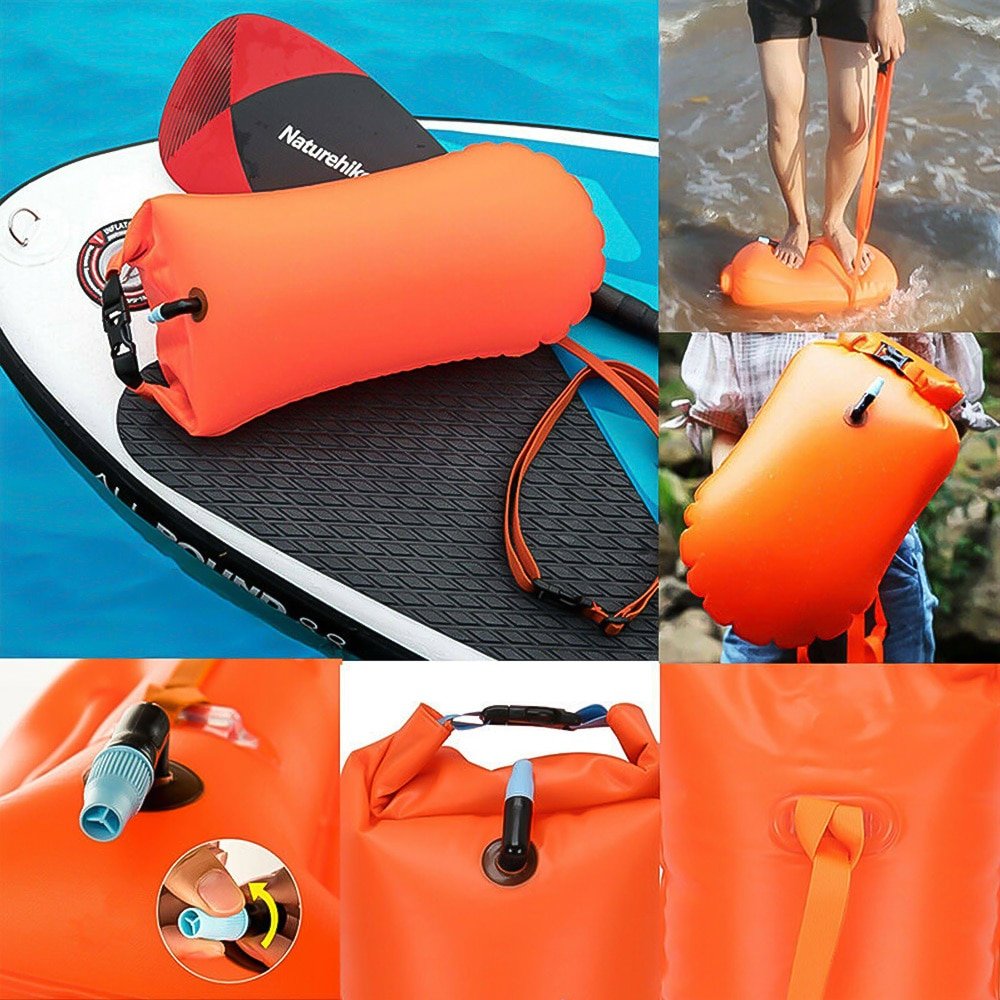 H2c697cbbbfc64c8f842451893b1438be8 - 1pc Float Swimming Bag Floating Inflated Buoy Air Dry Bag Safety Storage Bag with Waist Belt for Rescue Swimming Water Sport