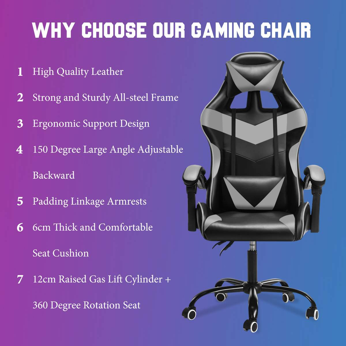 H2f42a4d47c4a4562a202de618f9b334bi - Adjustable Office Chair Gaming Ergonomic Leather Racing Desk Chairs Gaming Computer Chaise Game Chairs Reclining Seating