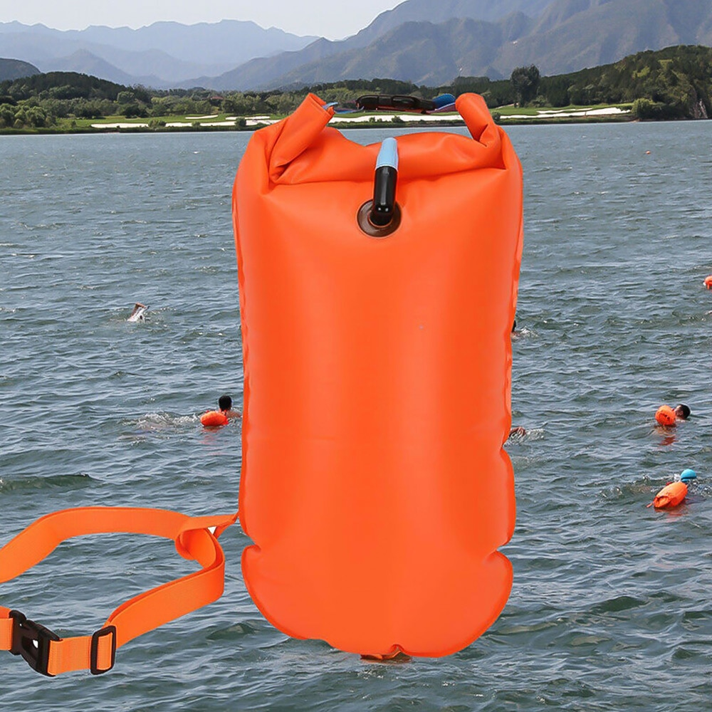 H313b8a1efa954c78b6e3d9e05b00a3ceo - 1pc Float Swimming Bag Floating Inflated Buoy Air Dry Bag Safety Storage Bag with Waist Belt for Rescue Swimming Water Sport
