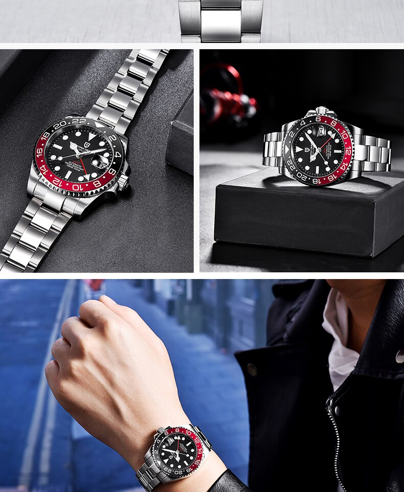 H32ae3f2ad05d498abb559233c2fd07655 - 2021 New Luxury GMT Watch PAGANI DESIGN Men Stainless Steel Automatic Mechanical Watches Sapphire Ceramic Bezel Waterproof Clock
