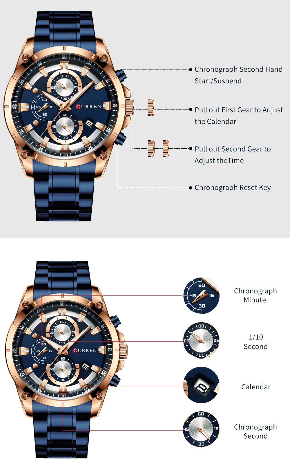 H32defdc0aeb34b9d8f7ae60550762bdaf - CURREN Top Brand Luxury Men Watches Sporty Stainless Steel Band Chronograph Quartz Wristwatch with Auto Date Relogio Masculino